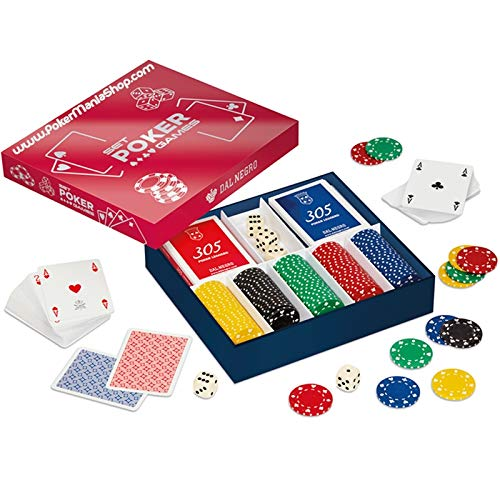 pokermaniashop Set 125 Chips Poker 11.5 gr Carte e Dadi in scatola Dal Negro