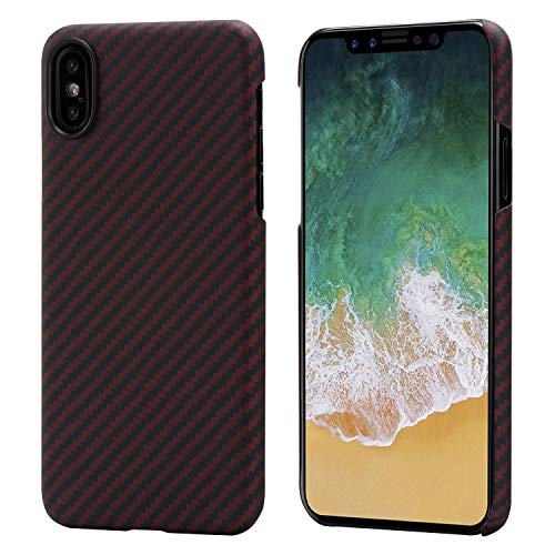 PITAKA Magnetic Slim Case Compatible with iPhone X 5.8', MagEZ Case Aramid Fiber [Real Body Armor Material] Phone Case,Minimalist Strongest Durable Snugly Fit Snap-on Case - Black/Red(Twill)