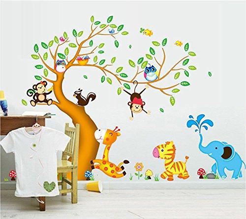 ufengke Cartone Animato Albero Felice Animali con Gufo Scimmie Zebra Giraffa Adesivi Murali, Camera dei Bambini Vivai Adesivi da Parete Removibili/Stickers Murali/Decorazione Murale