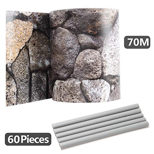 Hengda Sichtschutzstreifen für Doppelstabmatten, 70 m x 19 cm mit 60 Clips, PVC Sichtschutzfolie für Zaun, Gartenzaun, Doppelstabmattenzaun, Sichtschutz, Beidseitiger Druck, Stein