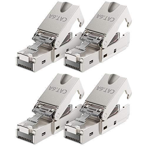 deleyCON 4X CAT 6a Werkzeugloser RJ45 Netzwerkstecker mit LSA Anschluss für Starre Verlegekabel Geschirmt 10Gbit/s LAN Kabel Netzwerkkabel Stecker CAT6a Metallgehäuse