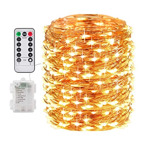 Fairy Lights Battery Christmas String Lights, 66Ft 200 LED Waterproof Remote Timer Control Copper Wire Lights, Fairy Lights Decoration String Lights for Patio Garden Yard Party Wedding