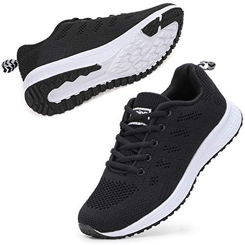 STQ Women's Athletic Walking Shoes Lightweight Gym Mesh Comfortable Trail Athletic Running Shoes(A08hei40) Black