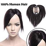 SEGO Toupee Cheveux Naturel Volumateur Capillaire Femme Extension Frange a Clip - 15 cm 01#Noir Foncé - Monobande Meche Afro Humains 100% Remy Human Hair