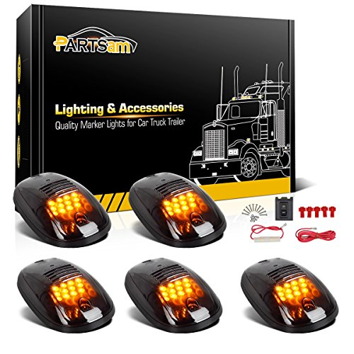 Amber LED Lamps 5pcs Smoke Cab Roof Top Running Marker 9 LED Lights Bulbs Replacement for 1999-2002 Dodge Ram and 1999-2016 Ford F//E Series