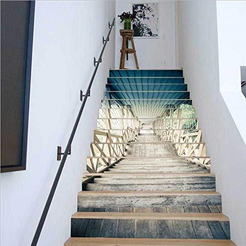 Rinnitt Escalera Pegatinas 3D Autoadhesivo Escaleras Verticales de la trayectoria del Paisaje murales de Vinilo Decal Wall Stickers Decoración Adhesivos para el hogar 13 Conjuntos,1