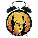 SanJIUCOM Reloj Despertador Digital Pareja de Flamenco español Bailarina Guitarrista Siluetas en el Paisaje al Atardecer Adecuado para Estudio de Dormitorio de Oficina