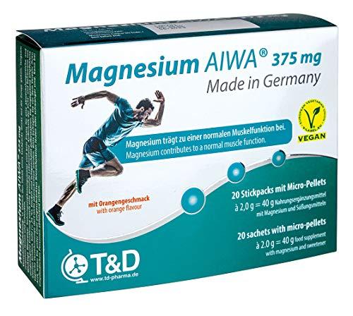 Magnesium AIWA 20 Stickpacks - 375 mg Magnesium - Orange Flavour - T&D Pharma