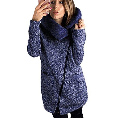 KUDICO Damen Jacke Mantel Einzigartig Diagonal Lang Reißverschluss Hoher Kragen Mantel Winter Outdoor Sweatshirt Outwear Gr. 42, blau