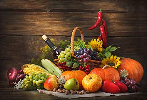 LFEEY 5x3ft Fall Harvest Photo Backdrop Wooden Wall Fruits Vegetables Autumn Harvest Thanksgiving Decoration Fruits Vegetables in Basket Photography Background Photo Studio Props