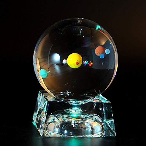 Solar System 3D Crystal Ball with LED lamp Base Clear 80mm (3.15 inch)...