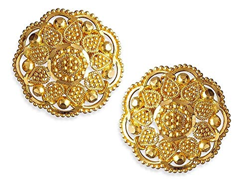 Certified Latest Indian Solid 22K/18K Stamped Fine Gold Round Designer Earrings