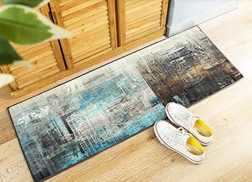 HYDWX Extra lange badmat Made,Milieuvriendelijk tapijt gemaakt voor badkamer, keuken en hal Retro blauwe stad