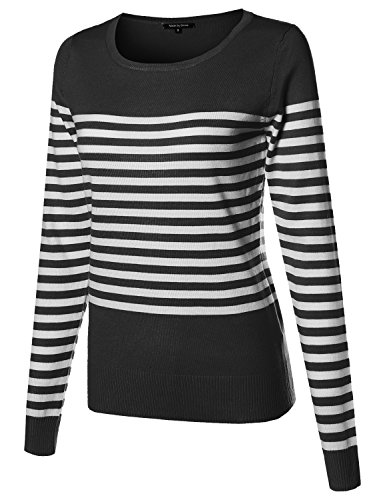 Made by Emma Round Neck Striped Pullover Long Sleeve Top Black L