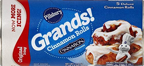 Pillsbury Grands!, Cinnamon Rolls with Cinnabon Cinnamon, Original Icing, 5 Rolls, 17 oz. Can