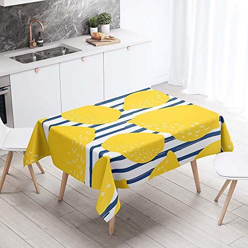Fansu Rechteck Tischdecke Polyester Bunte Fruchtzitrone Stil,Wasserdicht Tischwäsche Pflegeleicht Abwaschbar Tischtuch-Viele Größe Farbe Wählbar (Blau gelbe Streifen,140x220cm)