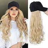 Perücke Blond Baseball Cap Damen mit Schwarz Hut Lang Perücken Hut für Frauen Täglicher Mode Super Natürlich Wig 009M
