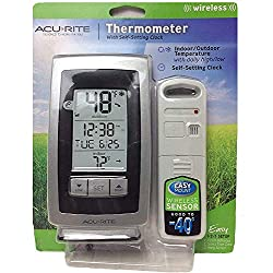 Acurite Digital Indoor / Outdoor Wireless Thermometer 00754w4 with Self-setting Clock and Daily High/low