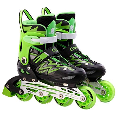 RENYAFEI Rollschuhe Für Kinder Inline Skates Einstellbare Schuhgröße Mit Vier Geschwindigkeiten Für Anfänger Und Boy Girl in Vier Farben Und DREI Größen Erhältlich,Grün,L(37~41EU)