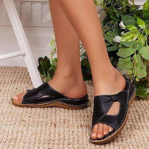 Zapatos de Verano, Sandalias de Plataforma Plana para Mujer, Zapatos de Mujer con cuñas de Antideslizante con Punta Abierta de Cuero Suave y Moda Informal,Negro,35