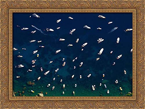Varona, Verne 24x17 Gold Ornate Framed Canvas Art Print Titled: Boat Conference - Amalfi Coast
