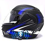 Bluetooth Integrado Casco de Moto Modular con Doble Visera Cascos de Motocicleta ECE Homologado a Prueba de Viento para Adultos Hombres Mujeres 55-62CM