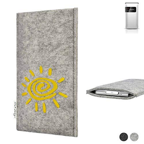 flat.design Handy Hülle für Emporia FLIP Basic FARO mit Sonne Filz Schutz Tasche Etui Made in Germany fair