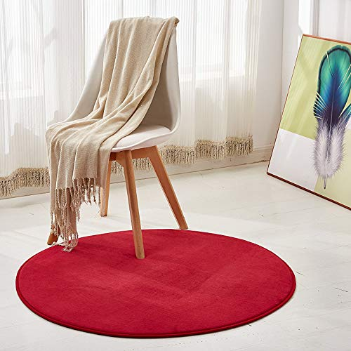 Morbuy Tapis Rond Lavable en Machine 100 cm Polaire de Corail Interieur Anti Slip Chambre à Coucher Salon Tapis d