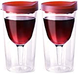 Vino2Go 10 Ounce Merlot Acrylic Insulated Wine Tumbler with Slide Lid, Set of 2