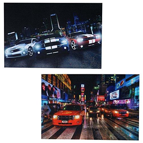 Mendler 2X LED-Bild Leinwandbild Leuchtbild Wandbild 40x60cm, Timer - Cars