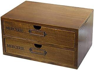 Maritown Organisateur de Bureau en Bois avec 2 tiroirs, boîte de Rangement en Bois. Armoire de classement en Bois. Tiroir ...