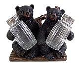 Decorative Side by Side Black Bear Salt and Pepper Shaker Napkin Holder Shakers Included