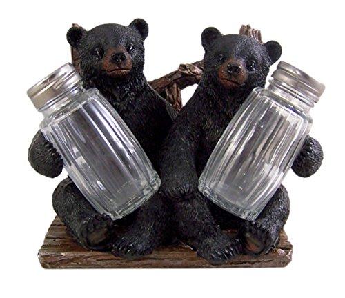 Salière et poivrière décorative Side by Side avec motif ours noir