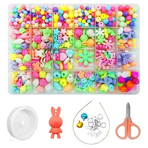 Alkinshue Perline Colorate Kit Braccialetti fai da te per Bambini Adulti, Perline per Braccialetti Hobby Creativi, Perline per Phone Beads Perline per Collane, Perline Fatte a Mano Creative