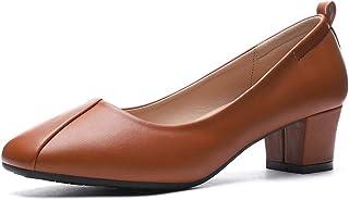CINAK Women's Chunky Low Heels-Comfort Square Toe Pumps...