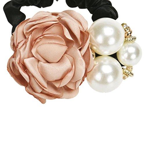 Covermason Perles Perles Rose fleur cheveux bande corde chouchou Ponytail titulaire (Kaki)
