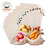 Kupton Lot de 10 sacs réutilisables en maille de coton biologique lavables pour fruits et légumes, aliments pour courses, jouets et jouets légers avec cordon de serrage (5 L, 2 moyens, 3 petits)