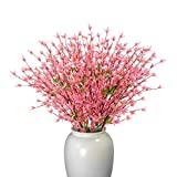 Beferr Artificial Winter Jasmine Bouquets Long Stem Real Touch Fake Flowers 2Pcs for Indoor Outdoor Wedding Party Home Office Patio Yard Decor (Pink)
