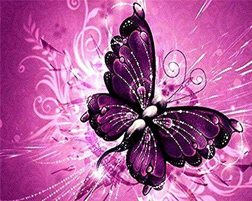 Pintura digital lienzo prepintado para adultos y niños pintura acrílica (con 3 pinceles) y pintura acrílica lienzo preimpreso violeta 40x50cm