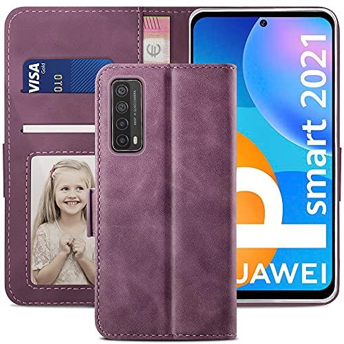 YATWIN Handyhülle Kompatibel mit Huawei P smart 2021 Hülle, Klapphülle Huawei P smart 2021 Premium Leder Brieftasche Schutzhülle [Kartenfach] [Magnet] [Stand] Handytasche Hülle, Weinrot