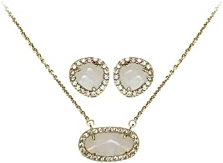 Kitsch Guiding Gems Semi-Precious Stone Pendant Necklace & Earring Set, 14K Gold Plated Sterling Silver & Pave CZ
