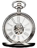 KS Reloj de Bolsillo con Cadena Hombres Vintage Steampunk Esqueleto Mecánico con Caja de...