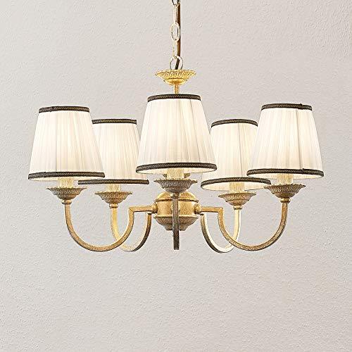 Lindby Kronleuchter 'Lumiel' (Landhaus, Vintage, Rustikal) in Bronze aus Textil u.a. für Wohnzimmer & Esszimmer (5 flammig, E14, A++) - Pendelleuchte, Hängelampe, Lüster, Lampe, Deckenleuchte
