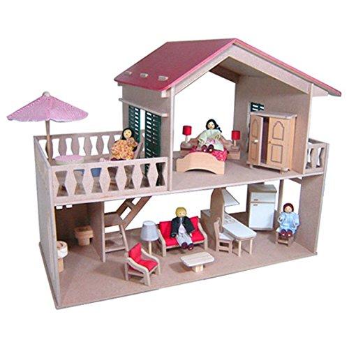 Casa de Boneca com Piscina - com Móveis - Madeira - 2 Andares - Bohney