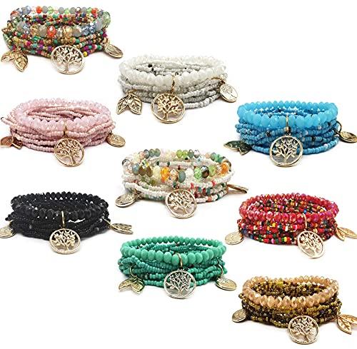 Jewdreamer Juego de 9 pulseras bohemias apilables de cuentas para mujer, bohemias y múltiples capas, conjunto de pulseras elásticas con borla y árboles