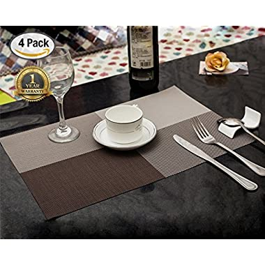 FiTSTILL Dining Kitchen Table Placemats, Heat-resistant, Waterproof non-slip Natural Woven Look with Vinyl Wipe Clean Washable Splice Insulation Mats, Set of 4 (Gray)