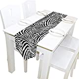 Partito 13x70 pollici Runner da tavolo lungo Astratto animale Pelle di zebra Stampa Decorativa in poliestere Runner da tavola Tovaglia per la casa Caffè Cucina Tavolo da pranzo Festa Banchetto Decora