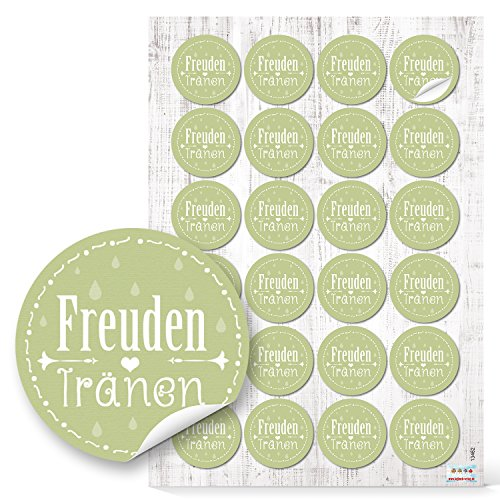 48 FREUDENTRÄNEN Aufkleber rund weiß hell-grün pistazie 4 cm Hochzeits-Deko für Tempo Papier-Taschentücher Tränen Kirche Sticker selbstklebend Etiketten
