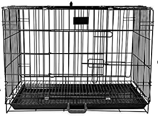 PSK PET MART Dog Cage 36 Inch Double Door Folding Metal Dog Cage with Paw Protector (Black)