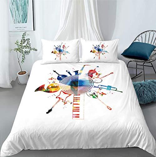 HDBUJ dekbedovertrek van polyester, kreukvrij, twee bijpassende kussenslopen, abstracte muziekapparaten en verschillende digitale 3D-printen, wit